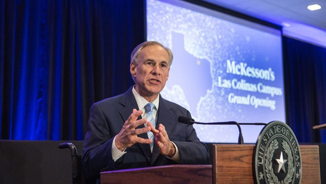 Texas Gov. Greg Abbott speaks at the grand opening of McKesson Corporation's campus in Irving on April 6, 2017. Abbott's office granted McKesson — the nation's largest drug distributor—  $9.75 million to help build the campus. Texas has since joined a 41-state investigation into whether McKesson and other drug companies helped fuel an opioid addiction crisis.