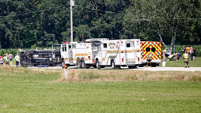Three medical helicopters responded to a two-vehicle crash on U.S. 45 north of Waucousta Friday, July 7, 2017.