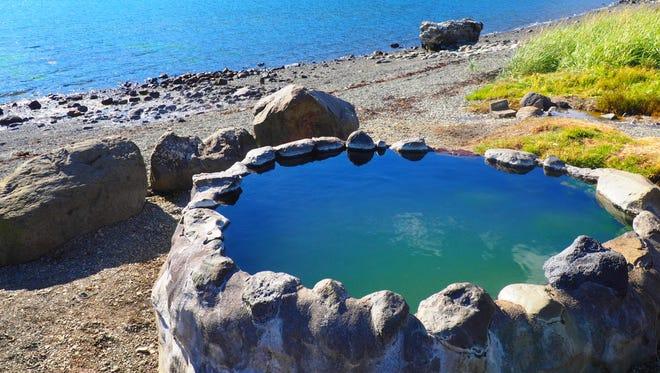 The Hvalfjardarlaug geothermal pool in Iceland.(Jenn Harris/Los Angeles Times/TNS)