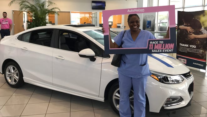 Areshia Bussey received a new Chevrolet at AutoNation Chevrolet North in Corpus Christi on May 23, 2017.