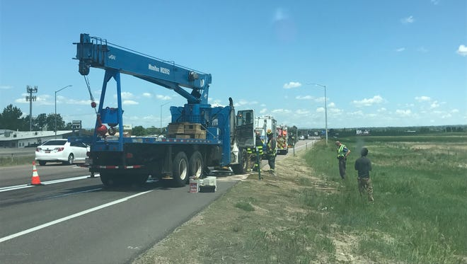 A ruptured crane tank caused big delays Saturday for commuters on northbound Interstate 25, near Windsor.