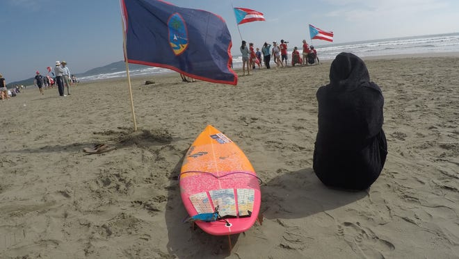 Irie Fitzgerald of Nimitz Hill awaits her turn at the Junior World Surfing Championships in Japan. It was Guam's first time to participate in the 38-year-old event.
