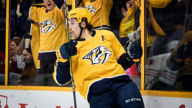 Predators left wing Filip Forsberg celebrates his goal against the Blackhawks on Nov. 28.