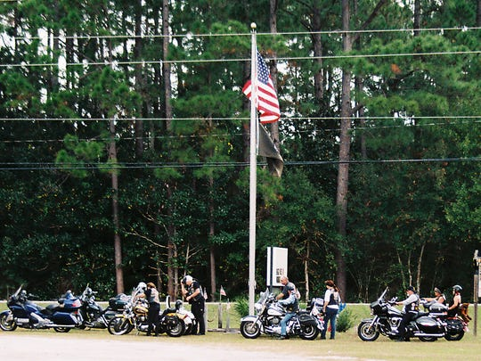 Bikers line up during a previous U.S. Military Vets Motorcycle Club Crossbones chapter Poker Run.