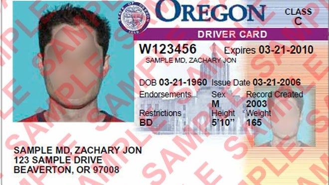 Sample of an Oregon drivers card.