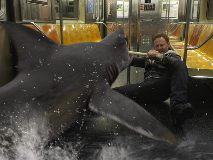 SHARKNADO 2: THE SECOND ONE -- Pictured: Ian Ziering as Fin Shepard --  (Photo by: Syfy)