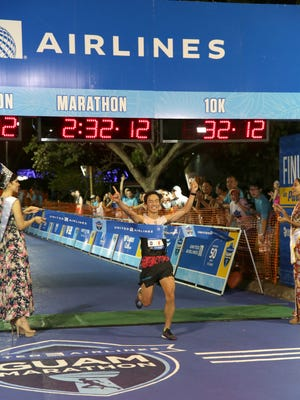 Shun Goroutani of Japan took first place in the men's division of the United Airlines Guam Marathon on April 8. Goroutani finished with a time of 2:32:14.