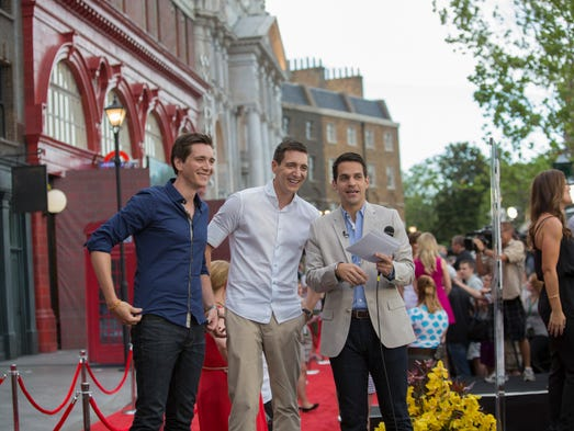 Oliver Phelps, seen here with brother James at the recent Diagon Alley red-carpet event at Universal Studios Florida, dished to 10Best about his favorite travel destinations. He portrayed George Weasley in the Harry Potter films. Diagon Alley opens July 8 at Universal Orlando Resort.