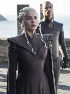 Emilia Clarke and Jacob Anderson in HBO's 'Game of Thrones.'