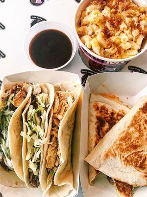 Quesadillas, tacos and macaroni and cheese from Oink & Moo BBQ.