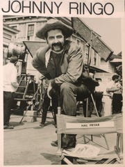 """Fryar, as """"Johnny Ringo,"""" on the set of the Three Stooges film """"The Outlaws is Coming,"""" 1964."""