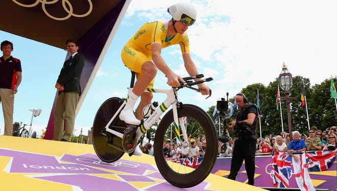 Michael Rogers of Australia competes in Men's Individual Time Trial Road Cycling on Day 5 of the London 2012 Olympic Games.