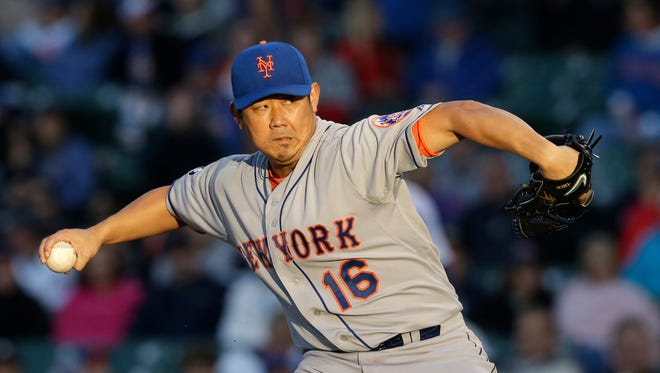 Mets starter Daisuke Matsuzaka throws against the Cubs in the first inning of the Mets' 5-4 loss on Wednesday.