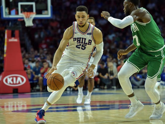 Philadelphia 76ers guard Ben Simmons moves the ball up court during the second quarter of the game against the Boston Celtics.