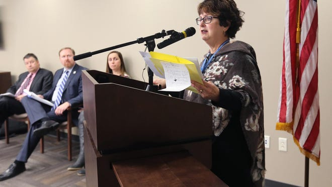Summit County Health Commissioner Donna Skoda talks during a 2018 news briefing.