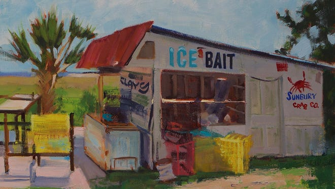 """An exhibit of artwork by Michael Reibel, including """"Sunbury Crab Shack,"""" an oil on linen panel, opens at Sacred Heart Cultural Center on July 9."""