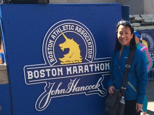 Yoshiko Tischler at the 120th Boston Marathon, her