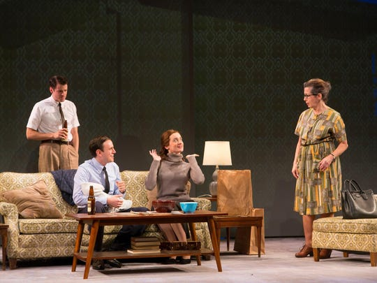 "Miles G. Jackson (left to right), Michael Goldsmith, Laurel Casillo and Betsy Aidem in ""Mama's Boy"" at George Street Playhouse."