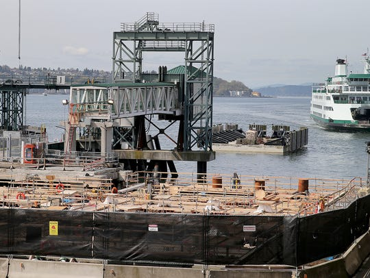Construction at Colman Dock in Seattle on the dock
