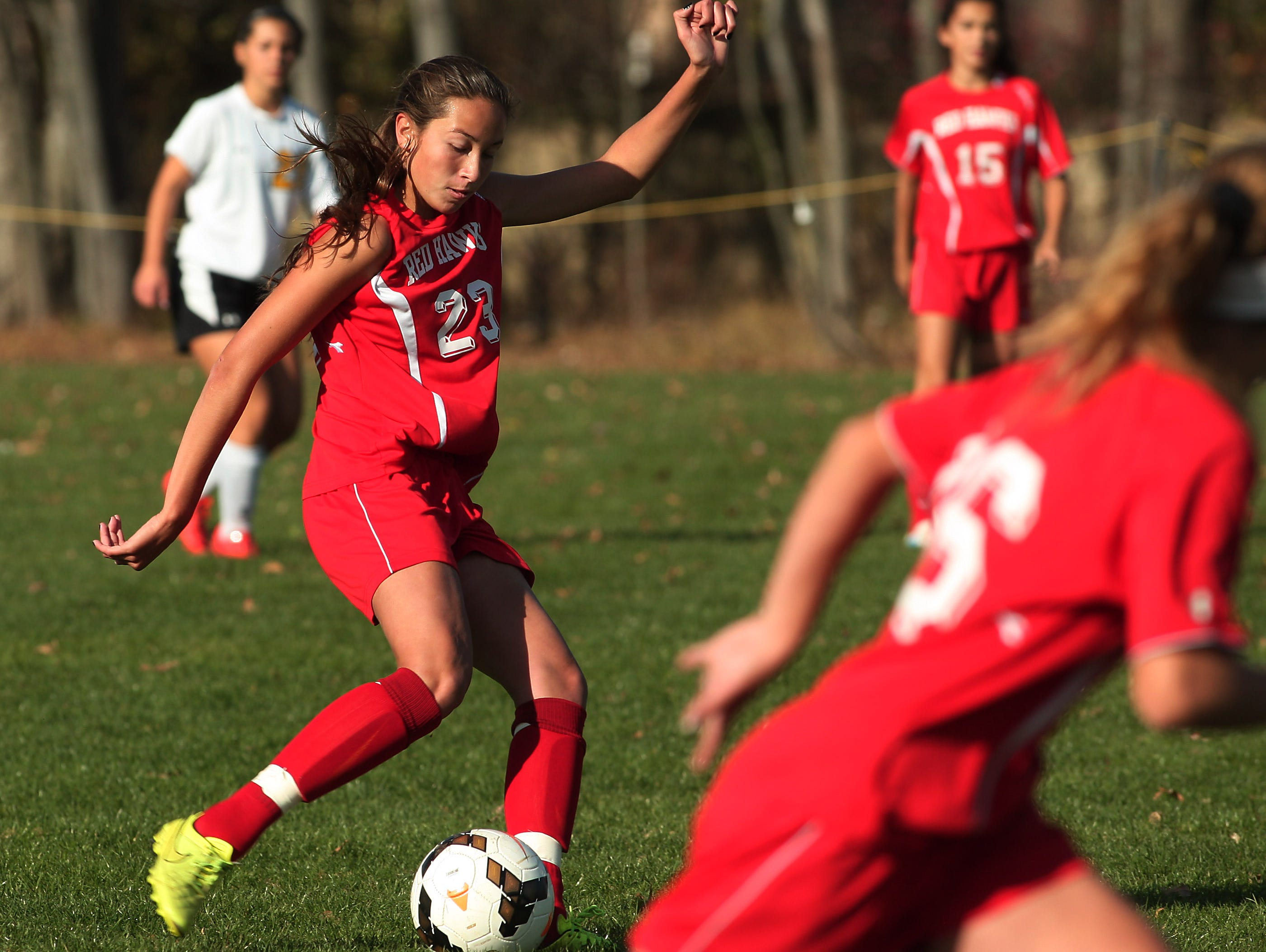 Parsippany's Haley Pignatelli scores in the first half vs Hanover Park in the first round of the North 2 Group II girls soccer matchup last November.