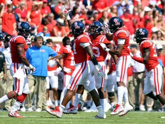 Sep 9, 2017; Oxford, MS, USA; Mississippi Rebels players react after a play during the first quarter against the Tennessee Martin Skyhawks at Vaught-Hemingway Stadium. Mandatory Credit: Matt Bush-USA TODAY Sports
