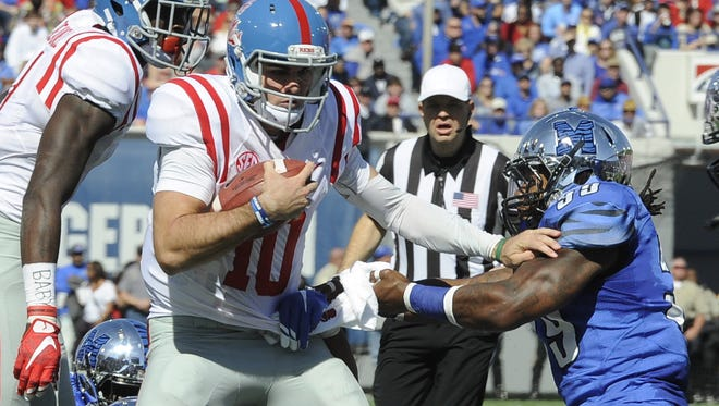 Chad Kelly and his Ole Miss teammates will try to avenge last year's loss to Memphis on Oct. 1.