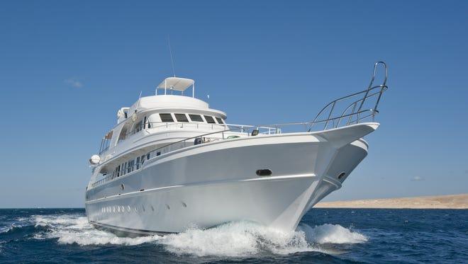Luxury motor yacht at sea.