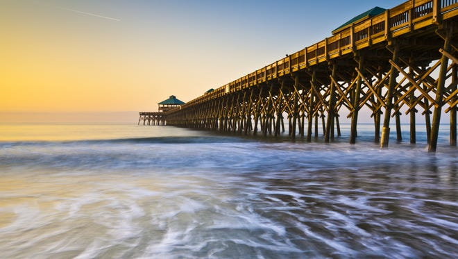 The pier at Folly Beach in Charleston, S.C. at sunrise