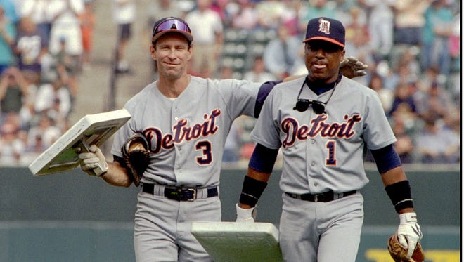 Former Detroit Tigers shortstop Alan Trammell, left, and second baseman Lou Whitaker.