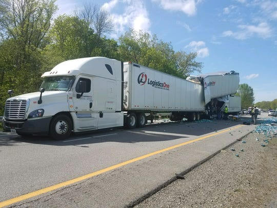 A pair of tractor trailers collided on I-87 Monday.