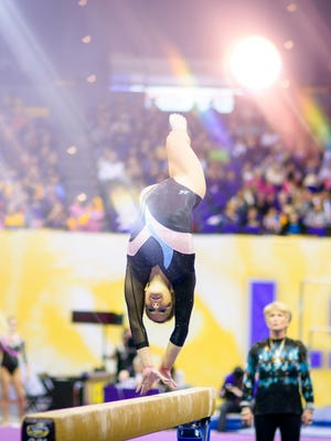 LSU's Sydney Ewing competes on the balance beam at a recent home gymnastics competition. Ewing and the Lady Tigers are ranked second in the country this season.