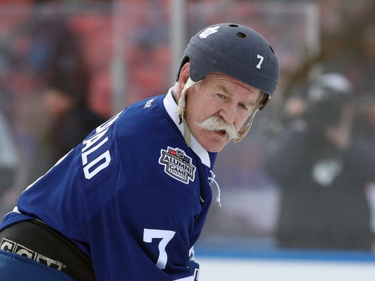 Maple Leafs forward Lanny McDonald (7) before the start of their game against the Red Wings during the Wings alumni team's 4-3 win Saturday in Toronto.