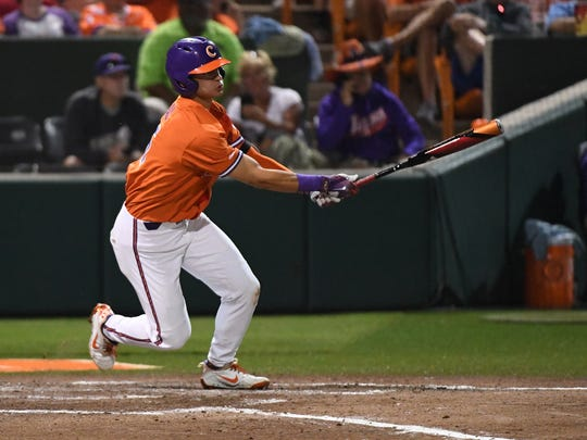 Clemson freshman Sam Hall(5) hits a double against Morehead State during the bottom of the fifth inning of the NCAA Clemson Regional at Doug Kingsmore Stadium in Clemson on Friday.