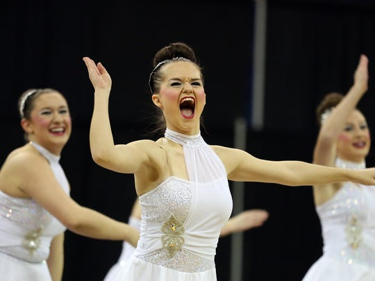 The Stayton Highlights compete during the OSAA Dance and Drill State Championships on Saturday, March 19, 2016, at Veterans Memorial Coliseum in Portland, Ore.