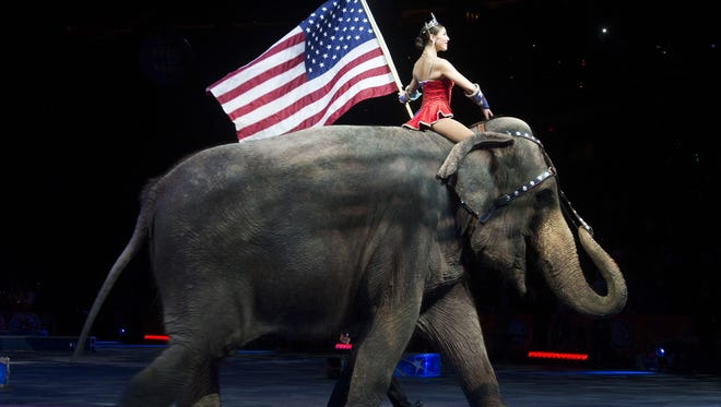 Circus elephants, like this one performing in Washington, D.C., are banned in Mexico beginning July 8.