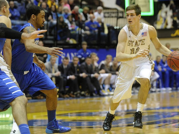 SDSU's #12 Brayden Carlson drives down the court against Fort Wayne during mens basketball action at Frost Arena in Brookings, S.D., Thursday, Feb. 6, 2014.