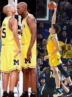 The Fab Five popularized long, baggy shorts in college basketball in the early 1990s. Current Michigan forward D.J. Wilson favors an alternative look and length, one he thinks is going to gain popularity.