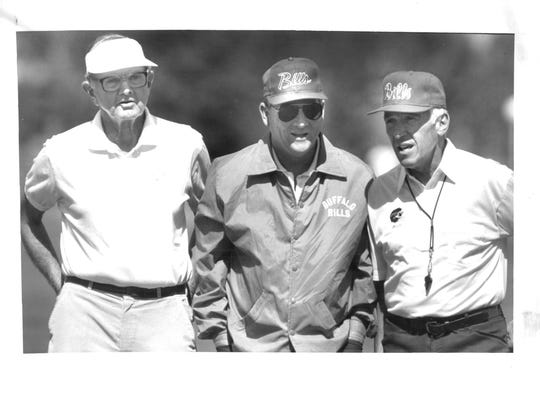 Bills championship braintrust from mid-1980s to early 1990s: Late owner Ralph Wilson, GM Bill Polian and coach Marv Levy. Each is a member of the Pro Football Hall of Fame. Say no more.