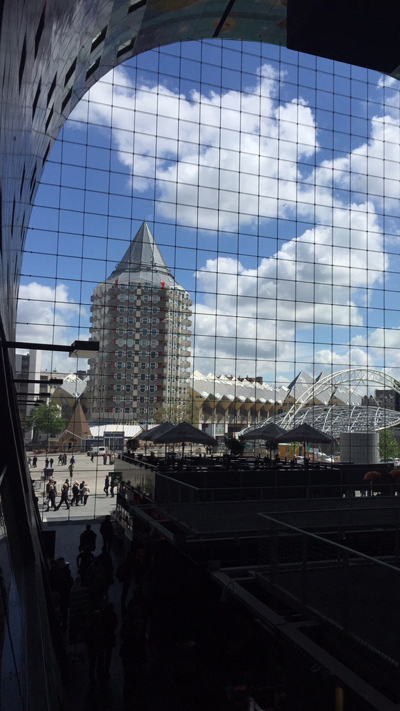 The view from inside of the Markthal in Rotterdam.
