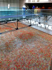 In this Feb. 16, 2017 photo visitors stand on a glass walkway over 9,000 poppies inside the entrance of the National World War I Museum in Kansas City, Mo.