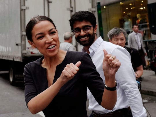 Alexandria Ocasio-Cortez, the winner of a Democratic