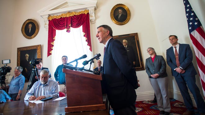 Gov. Phil Scott speaks during his weekly press conference at the Statehouse in Montpelier on Wednesday, May 16, 2018.