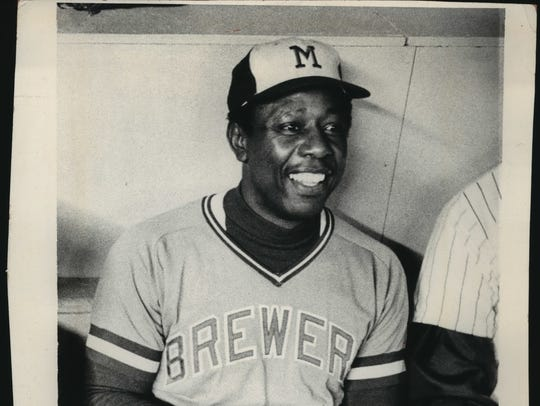 Hank Aaron sits for a photo in 1975, the final year