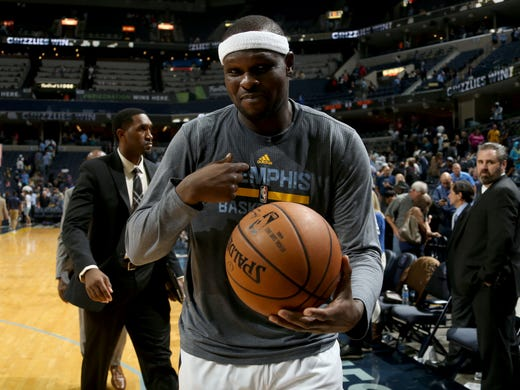 Memphis Grizzlies Zach Randolph exits the court with
