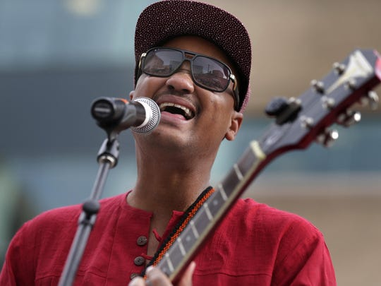 Son Little performs at Houdini Plaza Thursday during Mile of Music's opening day.