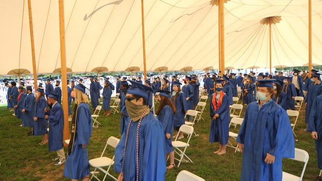 Upper Cape Cod Regional Technical School held its graduation ceremony for the class of 2020 under a tent Sunday afternoon on the school's Sandwich Road campus in Bourne. The graduation was postponed from its usual June date because of the COVID-19 pandemic.