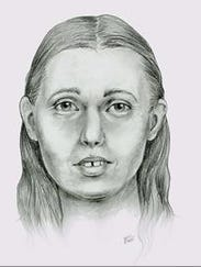 Two dimensional sketch of missing woman drawn in graphite