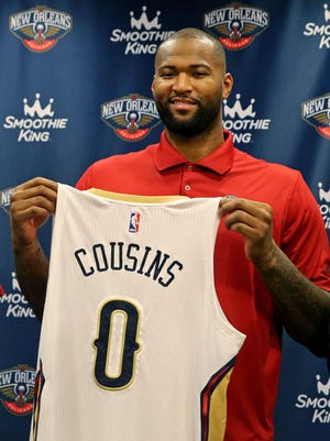 Omri Casspi (18) and DeMarcus Cousins (0) were introduced by the New Orleans Pelicans at a press conference at the New Orleans Pelicans Practice Facility.