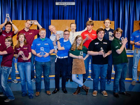 KEDT Challenge host Eric Boyd (back row center) poses for a fun photo with the 2016 all-star student contestants. Boyd has hosted the academic quiz bowl on KEDT-TV since its inception 12 years ago.