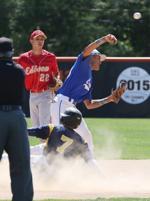 Carteret's Alex Slawinski (10) makes the double play after getting Colonia's Michael Wilson (7) out at second in the GMC Senior All-Star Baseball Game, featuring 51 of the league's top graduating senior at Middlesex County Vocational and Technical High School's East Brunswick campus on June 12, 2016.